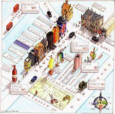 Uk map illustrations by Katherine Baxterengland