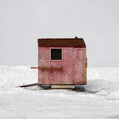 Since 2007 photographer Richard Johnson has been traveling around Canada documenting ice fishing huts. Ice Fishing Huts, Fishing Shack, Into The Wild, Ice Shanty, Small Buildings, Little Houses, Tiny Houses, Travel Around, Interior And Exterior