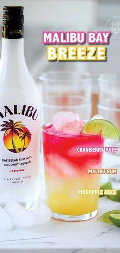 Malibu Rum Drinks, Cocktail Drinks, Fun Drinks, Coconut Rum Drinks, Beverages, Recipe For Cocktail, Malibu Rum Bucket Recipe, Refreshing Drinks, Sweet Alcoholic Drinks