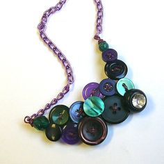 Thread with wire, attach to necklace chain. Button Jewellery, Button Necklace, Necklace Chain, Different Shades Of Green, Button Crafts, Diy Accessories, Vintage Buttons, Jewel Tones, Statement Jewelry