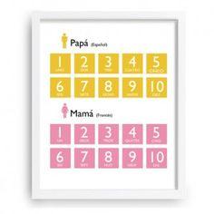 Cuadro infantil personalizado - Para que aprenda los número del 1 al 10 en el idioma de los papis - www.babyprint.es