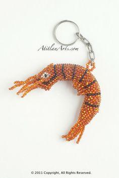 F3224 B219 - Shrimp Beaded Keychain from Guatemala (orange)