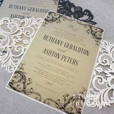 French laser cut Wedding Invitation Created by Eternal Stationery www.eternalstationery.com.au