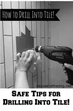 How to drill into tile.  Safe Tips for drilling into tile Comfy Bed, Ceiling Fan, Home Improvement, Bookshelves, Bookcases, Shelving, Book Shelves, Libraries, Home Improvement Projects