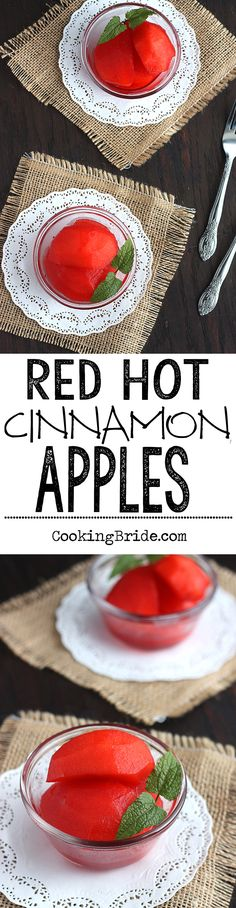 Cinnamon candies give these red hot cinnamon apples their bright red color and sweet flavor. Kids will love these!