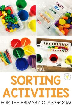 Color sorting activities for the primary classroom. Tons of ideas for preschool kindergarten or special education independent work centers sortingactivities 243475923592138710 Preschool Color Activities, Special Education Activities, Preschool Centers, Special Education Classroom, Preschool Kindergarten, Early Education, Kids Education, Kindergarten Independent Work, Preschool Life Skills