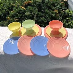 Excited to share this item from my shop: Hazel Atlas Moderntone Vintage Platonite Pastel Dishes in Pink, Yellow, Green and Blue; Lot of 6 Large Plates, 2 Small Plates, 3 Sherbet Dis Green Dinner Plates, Dinner Plate Sets, Baby Orange, Yellow Line, Large Plates, Glass Dishes, Green Pattern, Vintage Yellow, Coral Pink