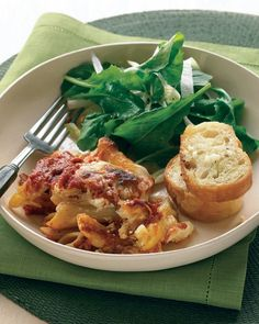 Baked Ziti with Crunchy Italian Salad and Garlic Bread - add browned, sausage/ground beef, spinach or whatever veggies...