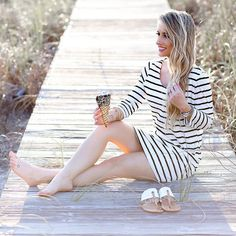 """1,214 Likes, 53 Comments - L a u r a • B e v e r l i n (@laurabeverlin) on Instagram: """"Ice cream on the beach in this striped dress from @the.basement.boutique! The back has the cutest…"""""""