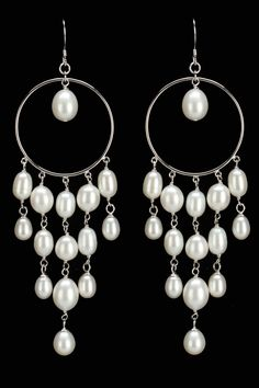 Freshwater Pearl Chandelier Earrings In White.