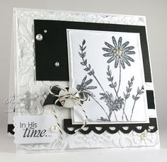 Wildflowers and New Creature clear stamp sets (Sweet 'n Sassy Stamps)... Basic Black ink pad and card stock (SU!)... Vintage Wallpaper embossing folder (SU!)... Tiny Tags die (PTI)... Scallop border punch (Fiskars)... Black Seam Binding ribbon, button, pearls, Baker's Twine...