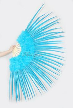 Marabou & Pheasant  Feather Fan Burlesque perform  29 x 53  Gift Box Turquoise