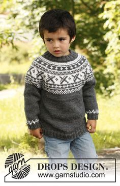 "Knitted DROPS jumper worked top down in ""Karisma"" or ""Merino Extra Fine"" with round yoke and Norwegian pattern. Size 3 - 12 years. ~ DROPS Design"