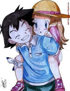 Kawaii ♡ Little Amourshipping ^.^ ♡ Kudos to whoever made this fan art