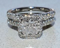 IGI Certified 2.20Ct Cushion Halo Diamond Engagement Ring & Matching Band $12K #SolitairewithAccents