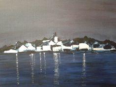 Zonsondergang in kroatie acryl op doek 60x80