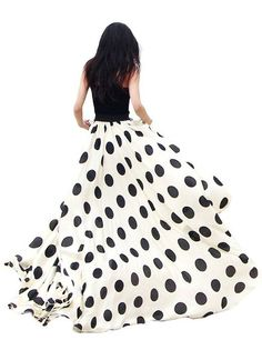 Jollychic Womens Black Dot Chiffon Maxi Full-length Skirt Big Hem Beach Dress----love me some polka dots. wish i had more of them in my life!!!