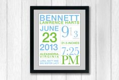 Custom Birth Announcement Poster 11x14 perfect for by brandnoonan, $25.00