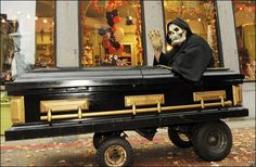 Motorized Coffin roaming the streets of Salem, Mass. on Halloween