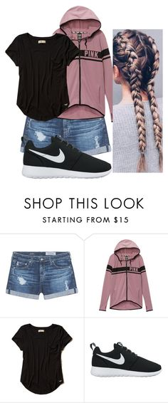"""""""School Outfit"""" by chloefaust on Polyvore featuring AG Adriano Goldschmied, Victoria's Secret, Hollister Co. and NIKE"""