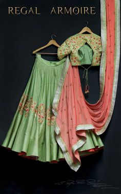 Beautiful pista green color lehenga and blouse with pink color dupatta. Lehenga and blouse with floral design hand embroidery thread work. Green Lehenga, Indian Lehenga, Lehenga Choli, Anarkali, Bridal Lehenga, Indian Attire, Indian Ethnic Wear, Indian Dresses, Indian Outfits