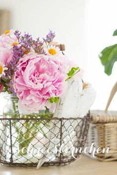 a lovely basket of flowers