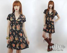 #Vintage #90s Black Floral Babydoll Mini Dress, fits M by #shopEBV http://etsy.me/1C6F6DH via @Etsy #etsy #softgrunge #90sfashion #90sstyle