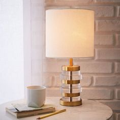 Clear Disc Table Lamp - Small (Antique Brass/White Linen)   west elm