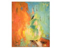 Giclee Art Print of Modern Art Abstract Oil Painting in orange, blue, mint, and reds, for Modern, Transitional or Traditional Wall Decor. This a gorgeous and eye-catching painting. Painting can be hung vertically as shown or horizontally. Printed on Epson archival bright white heavy weight fine art paper with 9 Epson archival inks. This is a top quality print that I do in my own studio. Print Ships in acid free cello sleeve in box or flat in envelope depending on size. Original oil…