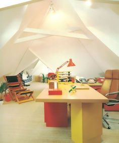 1980s attic office with primary colors