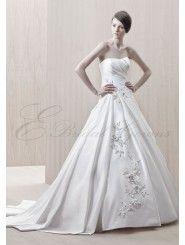 Silky Dupion Strapless Soft Sweetheart Asymmetrical Pleated Bodice A-line Wedding Dress