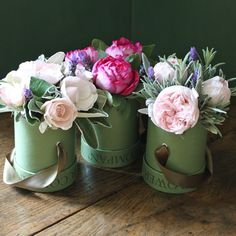 garden roses & herbs in little hat boxes