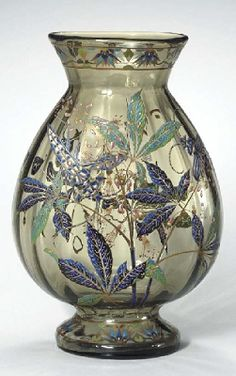 Enameled Glass Vase, circa 1895, High: 40.3cm, Wide: 26.6cm. Deep: 18.3cm. Engraved E Gallé Nancy 1993. Sold at $ 10800 on 9 Mar 2005, Christie's, NY.