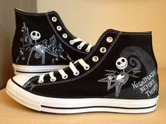 Jack Skellington hand painted converse high tops. Outstanding job on these!
