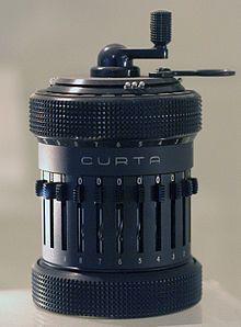 A Curta mechanical calculator