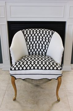 Traditional style chair with black and white bold, graphic print makes it more contemporary