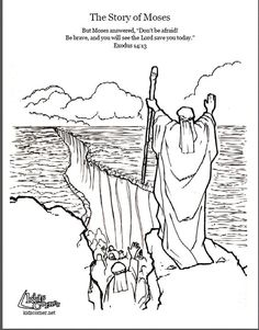 Moses Parting the Red Sea Coloring Page Beautiful Pin by Shaderrica Miller On Kids Bible Study Bible Stories For Kids, Bible Crafts For Kids, Preschool Bible, Bible Activities, Kids Bible, Free Bible Coloring Pages, Coloring Books, Colouring, Coloring Bible