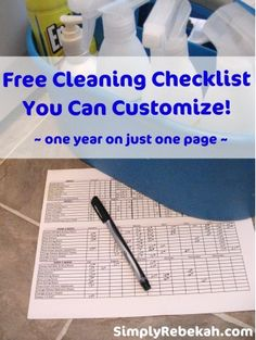 Free Customizable One-Year Cleaning Checklist