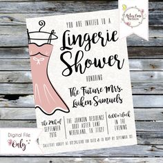 Lace Lingerie Shower Invitation // Personalized Printable Invitation by AsterLaneDesign on Etsy https://www.etsy.com/listing/386129324/lace-lingerie-shower-invitation