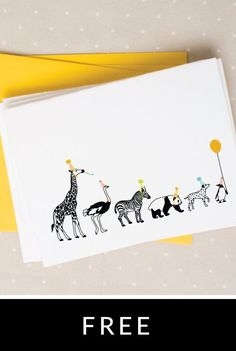 These free printable Party Animals Notecards would make adorable thank you notes for a zoo themed party.