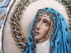 Antique Beautiful Madonna Painful Silk Embroidery Scapular Latin | eBay