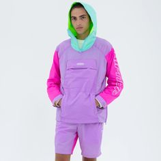 Neon Outfits, Casual Outfits, Street Style Boy, Mens Tracksuit Set, Colour Blocking Fashion, Eco Clothing, Anorak Jacket, Colorful Fashion, Streetwear Fashion