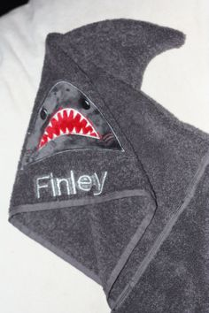 Personalized shark, hooded, bath towel/sheet UK seller