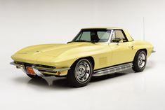 Finished in Sunfire Yellow, this 1967 Chevrolet Corvette convertible features its original, matching-numbers L79 327 small-block engine rated at 350hp. Shown at several NCRS events, earning Top Flight honors as well as receiving the Duntov Mark of Excellence Award, an honor bestowed upon only the best cars. Yellow Corvette, Corvette C2, Chevrolet Corvette, Chevy, Corvette Convertible, Yellow Car, Custom Motorcycles, Hot Cars, Custom Cars