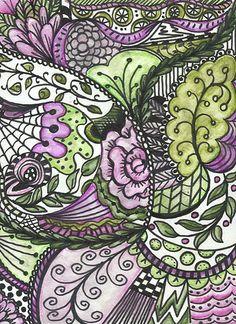 Zentangle by roji Art Patterns Tangle Doodle, Tangle Art, Doodles Zentangles, Zen Doodle, Zentangle Patterns, Doodle Art, Ink Doodles, Art Patterns, Arte Mehndi