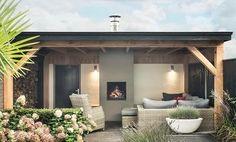 Buitenpracht-houtbouw Barneveld  Veranda met houtkachel buitenhaard led inbouw spots loungeset houtopslag douglas buitenpracht stijlvolle houtbouw
