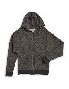 Dex Sequin Zip Up Hoodie  Grey Small