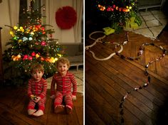 tree decorated with lights from www.lacasedecousinpaul.com  DIYable -- balls made from polyester thread 7cm in diameter with 5mm hole.