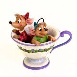 Disney Traditions designed by Jim Shore for Enesco Jaq and Gus in Tea Cup Figurine 4.5 IN