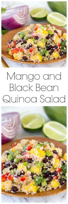 Mango and Black Bean Quinoa Salad (cold vegetable snacks) Vegetarian Side Dishes, Best Vegetarian Recipes, Mexican Food Recipes, Real Food Recipes, Healthy Recipes, Healthy Food, Easy Recipes, Vegan Meals, Salad Recipes